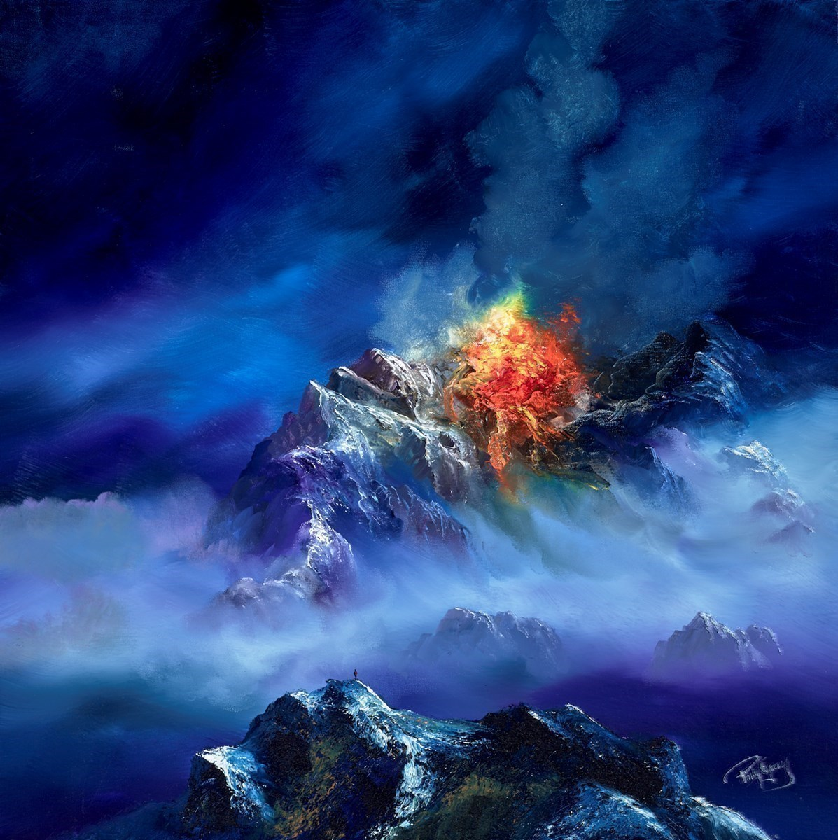 Fire in the Mountains IV by Philip Gray -  sized 32x32 inches. Available from Whitewall Galleries